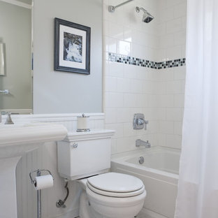 Example of a mid-sized classic mosaic tile ceramic tile bathroom design in San Francisco with a pedestal sink, a two-piece toilet and gray walls