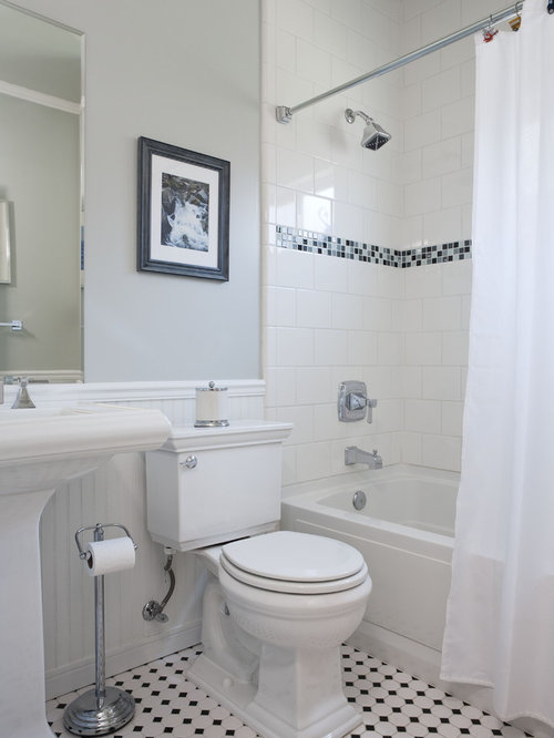 Example of a mid sized classic mosaic tile ceramic floor bathroom design in  San Francisco. Bathroom Beadboard Ideas   Houzz