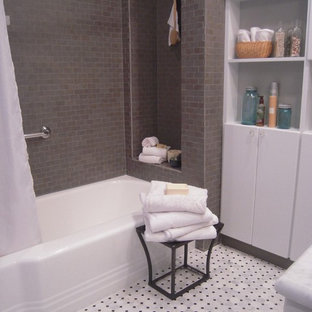 Small elegant master white tile and subway tile marble floor bathroom photo in DC Metro with an undermount sink, furniture-like cabinets, gray cabinets, a two-piece toilet and gray walls