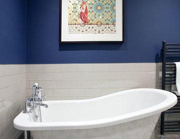 Vintage, industrial-inspired bathroom, East Molesey