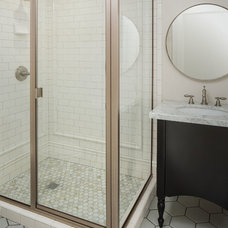 Transitional Bathroom by White + Gold Design