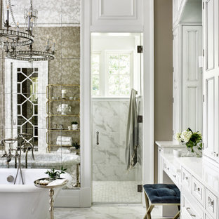 Inspiration for a french country white floor freestanding bathtub remodel in Other with recessed-panel cabinets, white cabinets, brown walls, white countertops and a built-in vanity