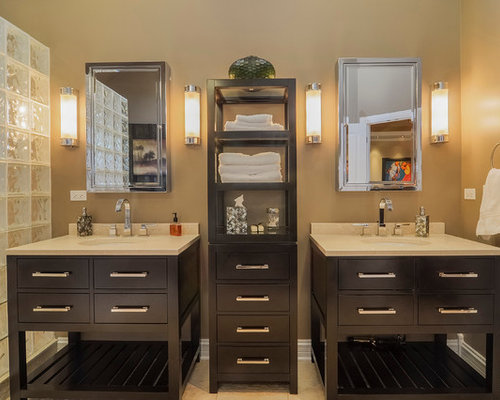 bathroom photo in chicago with an undermount sink flatpanel cabinets dark