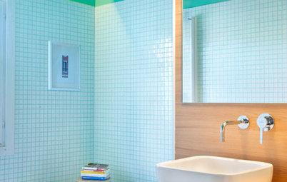 Más vale una imagen...: 7 baños pequeños de colores