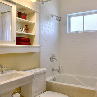 Inspiration for a classic bathroom in Seattle with a pedestal sink and metro tiles.