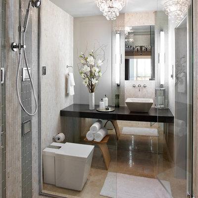 Bathroom - contemporary bathroom idea in Boston with a vessel sink