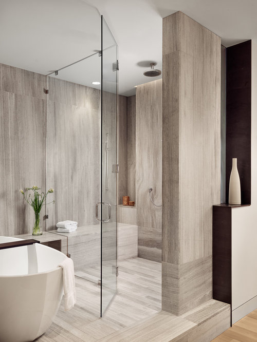 Hotel Bathroom Ideas Part - 25: Large Trendy Master Gray Tile Gray Floor Walk-in Shower Photo In Austin  With Gray
