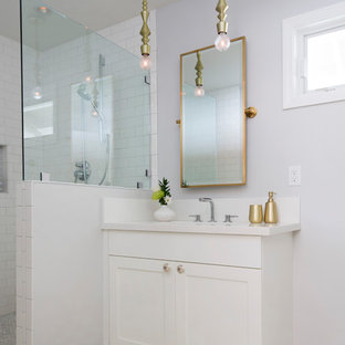 Small trendy kids' multicolored floor bathroom photo in Hawaii with shaker cabinets, white cabinets, gray walls and an undermount sink