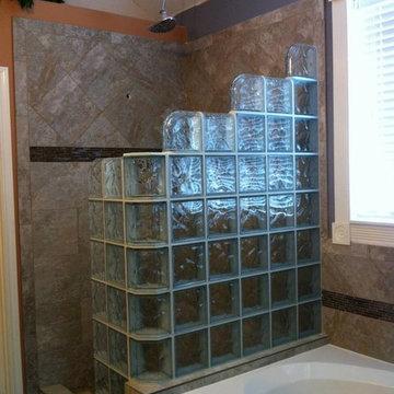 Walk-in Glass Block Shower