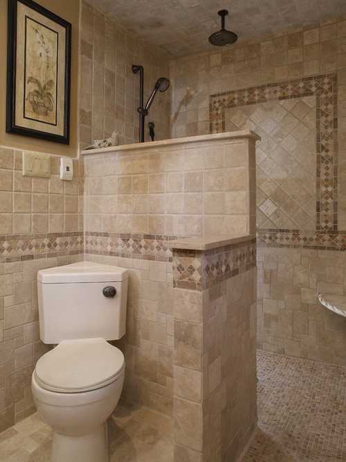 Mediterranean bathroom design ideas renovations photos with a two piece toilet - Mediterranean bathroom design ...