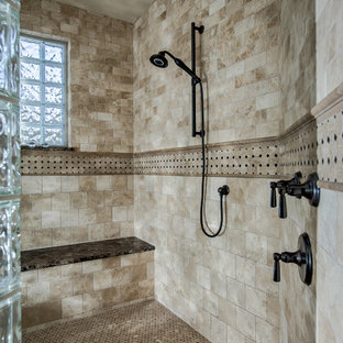 Example of a mountain style beige tile travertine floor doorless shower design in Denver