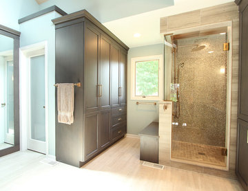Walk in Shower with Two Windows and a Glass door with custom tile work