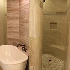 Walk Through Master Bathroom With Free Standing Tub