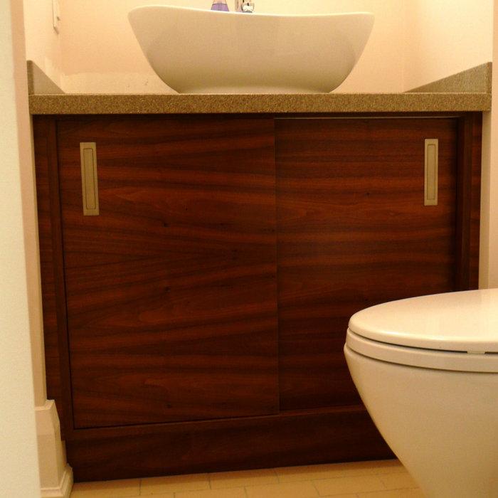Walnut Bathroom Vanity and Storage