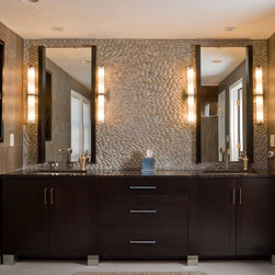 Walnut Contemporary Bath - Cabinetry by: Scandia Kitchens Inc.