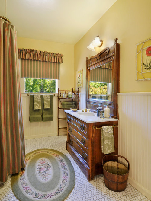 country bathroom ideas. Example Of An Ornate White Tile Shower Curtain Design In San Francisco With Dark Wood Cabinets Country Bathroom Ideas