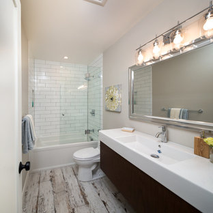 Mid Sized Country Kids White Tile Porcelain Floor And Bathroom Photo In