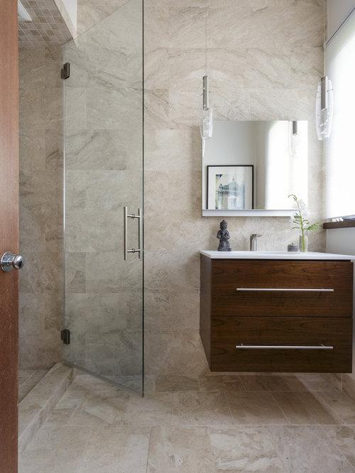 mediterrane badezimmer mit braunen schrankfronten design. Black Bedroom Furniture Sets. Home Design Ideas