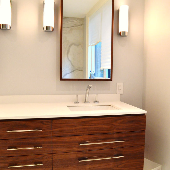 Walnut Floating Vanity and Matching Medicine Cabinets