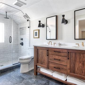 Walnut Vanity with Alcove Shower