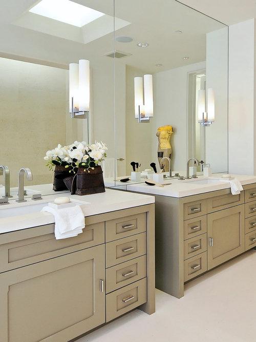 Two vanities houzz How to raise a bathroom vanity cabinet