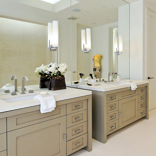 Bathroom - contemporary bathroom idea in San Francisco with shaker cabinets and white countertops