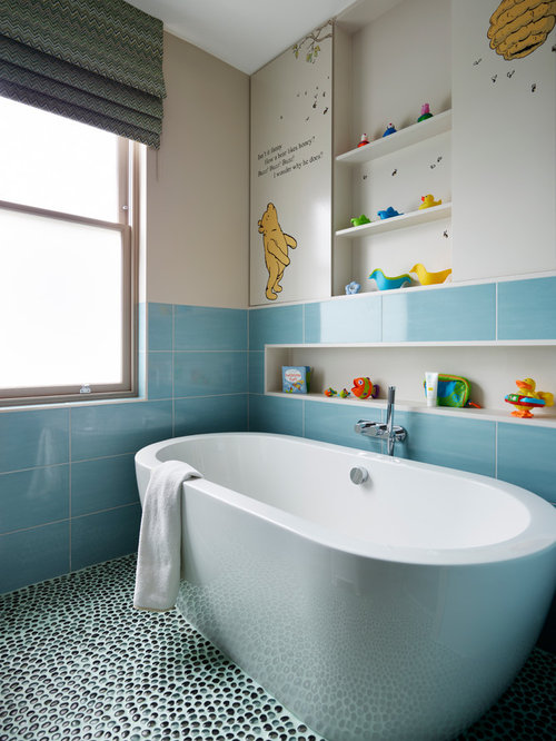Design Ideas For A Modern Family Bathroom In London With Freestanding Bath Ceramic Tiles