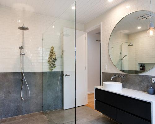 salle d 39 eau avec une douche l 39 italienne et un carrelage m tro photos et id es d co de salles. Black Bedroom Furniture Sets. Home Design Ideas