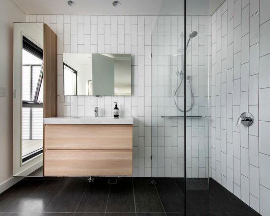 Bathroom Tiles Vertical Or Horizontal vertical subway tile pattern | houzz