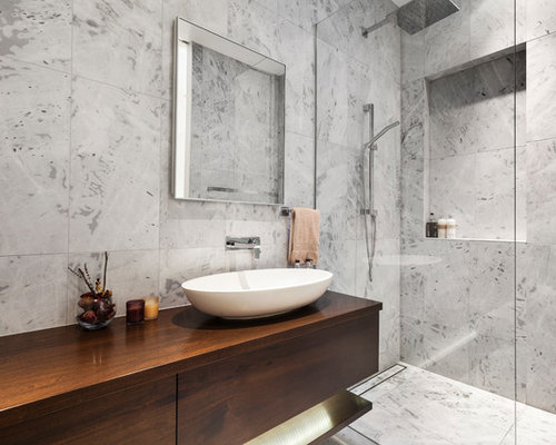 Contemporary Bathroom In Melbourne With Flat Panel Cabinets, Dark Wood  Cabinets, Gray Tile