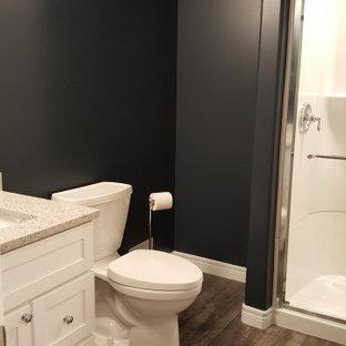 トロントのコンテンポラリースタイルのおしゃれな浴室 (白いキャビネット、アルコーブ型浴槽、一体型トイレ、青い壁、クッションフロア、オーバーカウンターシンク、珪岩の洗面台、茶色い床、ベージュのカウンター、アルコーブ型シャワー、引戸のシャワー) の写真