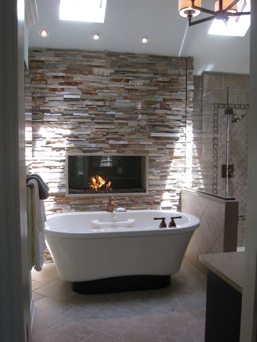Warm and cozy bathrooms ideas pictures remodel and decor for Fireplaces bath