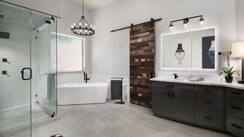 Warm & Industrial Master Bathroom