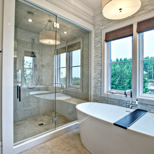Photo of a contemporary bathroom in Calgary with a freestanding bath.