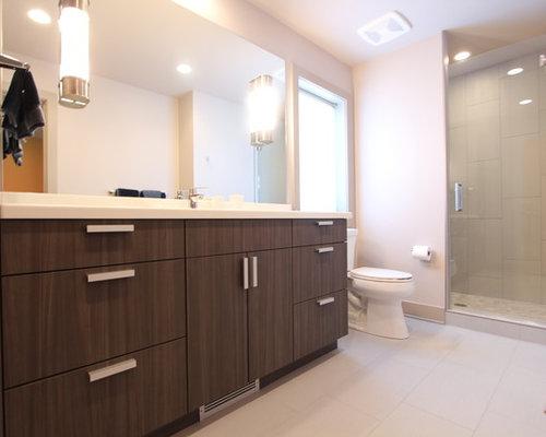 Warm Gray Laminate Cabinets inspire Modern Looking Bathroom