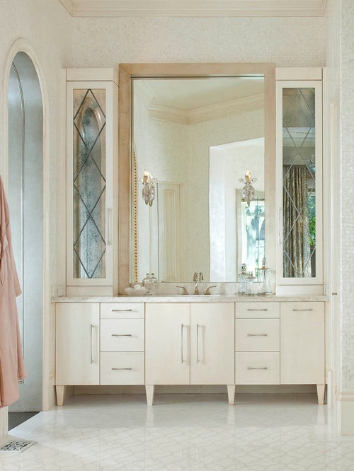Transitional beige tile bathroom photo in Dallas with flat panel cabinets  and beige cabinetsMirrored Vanity Cabinet   Houzz. Mirrored Bathroom Vanity Cabinets. Home Design Ideas