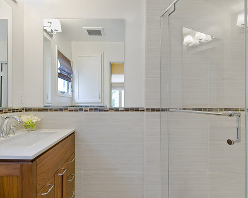 Marvelous Trendy Beige Tile Alcove Shower Photo In San Francisco With An Undermount  Sink, Shaker Cabinets