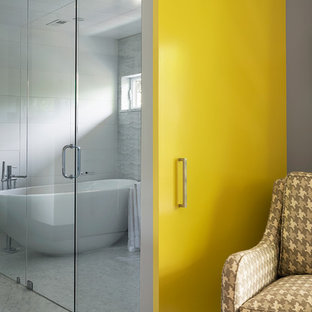 Example of a trendy white tile bathroom design in Denver with white walls