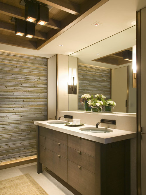 double vanity lighting. Example Of A Trendy Beige Tile Bathroom Design In Seattle With An Undermount Sink, Flat Double Vanity Lighting O