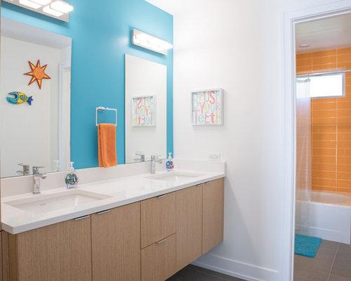 Bagno con piastrelle arancioni chicago foto idee arredamento