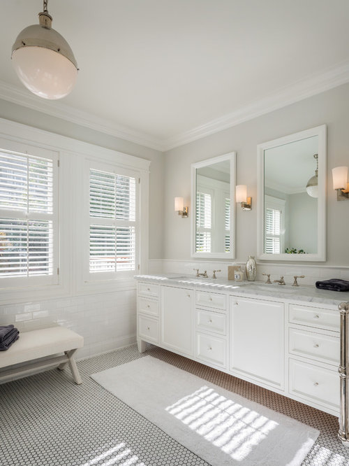 Example Of A Transitional White Floor Bathroom Design In San Francisco With  An Undermount Sink, Part 66