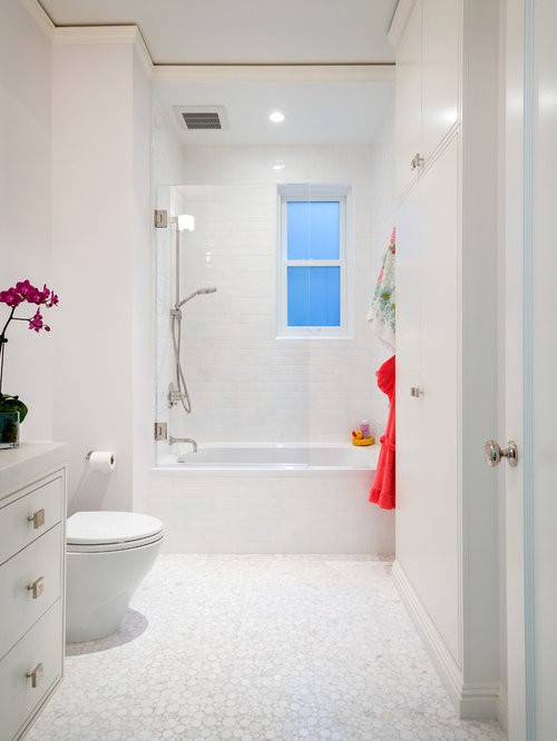 Inspiration for a contemporary tub/shower combo remodel in San ...