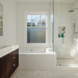 Trendy white tile corner shower photo in San Francisco with a trough sink, flat-panel cabinets, dark wood cabinets and an undermount tub