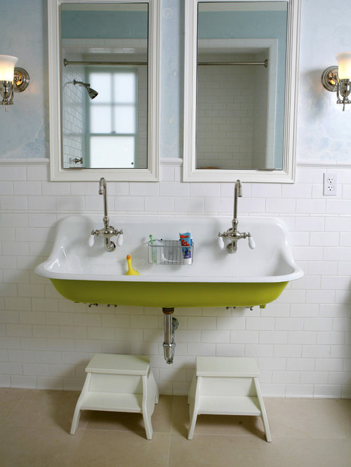 Traditional Kidsu0027 White Tile And Subway Tile Bathroom Idea In San Francisco  With A Trough