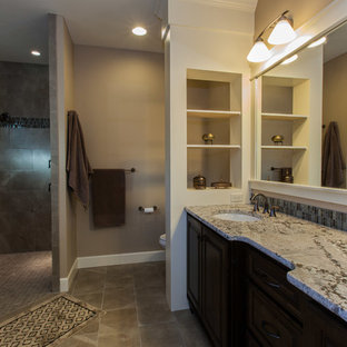Inspiration for a large craftsman master multicolored tile walk-in shower remodel in Portland with an undermount sink, dark wood cabinets, granite countertops and multicolored walls