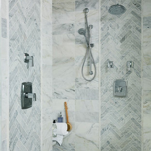 Design ideas for an expansive traditional master bathroom in Minneapolis with gray tile, marble, marble floors and white floor.
