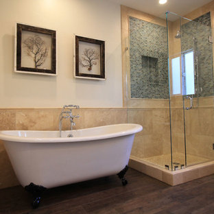 75 beautiful beige tile bathroom with blue cabinets