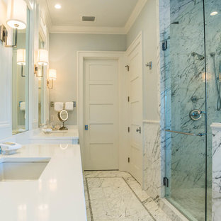 Example of a huge cottage chic master black and white tile and marble tile marble floor and white floor bathroom design in Other with shaker cabinets, white cabinets, gray walls, an undermount sink, granite countertops, a hinged shower door and white countertops