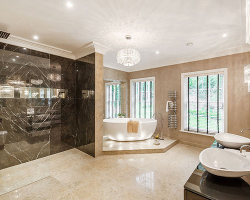 This Is An Example Of A Modern Ensuite Bathroom In Surrey With A  Freestanding Bath,