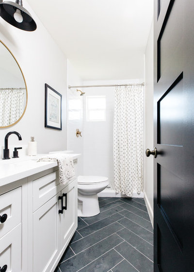 Transitional Bathroom by Blissful Abode Interiors